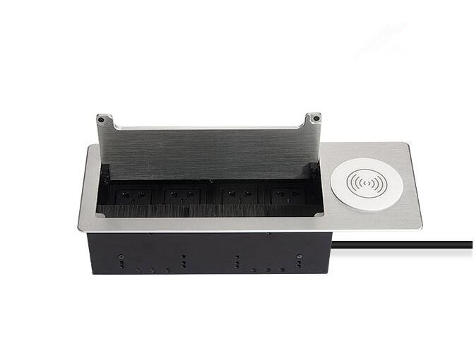 Desktop Cable Cubby Box / Wireless Charging Countertop Socket Brush Multimedia Information Box